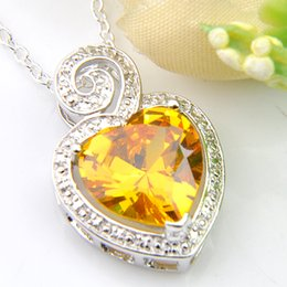 Luckyshine 10 Pieces 1Lot Citrine Peridot Topaz Pendants Heart-shaped Gems 925 Silver Pendant Jewelry Gift Canada Mexico Jewelry 8 Color