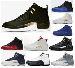 New 12 Midnight Black Snakeskin Winterized Flu Game FIBA Men Basketball Shoes 12s Royal Blue Suede The Master Wolf Grey Sneakers With Box