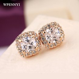 Classic Style Rose Gold Color Princess Cut Sparkling Square Zirconia Fully Setting Woman Stud Earring Wholesale Fashion Gifts