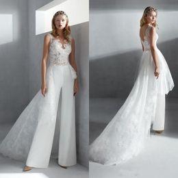 Elegant Overskirts Jumpsuits Mermaid Wedding Dresses 2020 New Sheer Jewel Neck Lace Bohemian Beach Bridal Gowns Boho Wedding Dress Pants