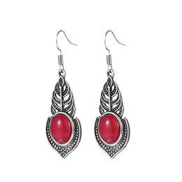 Whosale -- Europe popular Red Jasper Gemstone Silver Dangle Earrings For Women Girl Party Jewelry