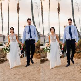 2020 Jewel Chiffon Aline Wedding Dresses Bohemian Beach Hippie Style Bridal Gowns with Custom Made Plus Size