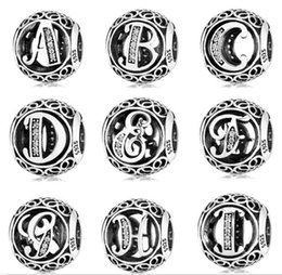 Authentic Letter collection bead J-R 925 Sterling Silver bead diy Jewelry Fits Pandora Bracelet Alphabet Natural Stone Beads 2019 newest