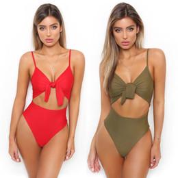 Women Sexy Tie Knot Front Swimsuit Monokini Spaghetti Strap Cutout High Waist One Piece Swimsuit Bikini Solid Beachwear Bathing Suit CCI0105