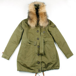 Classic army green Cotton tooling Trench Coats with belt hooded Removable Raccoon fur Collar for Spring clothing