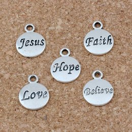 Hope Believe Love Faith Jesus Charms Pendants 100Pcs lot 11.5x15.5mm Antique Silver Fashion Jewelry DIY Fit Bracelets Necklace Earrings A-23