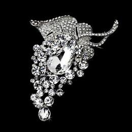 4 Inch Extra Large Grape Shaped Rhinestone Crystal Diamante Brooch with Teardrop Shaped Crystal