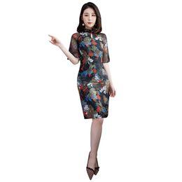 Shanghai Story Chinese style dress Falbala chiffon Qipao Dress chinese style Faux Silk cheongsam Oriental Dress
