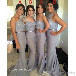 4 Styles Dark Gray Bridesmaid Dress High Quality Formal Long Maid of Honor Dress Wedding Party Gown
