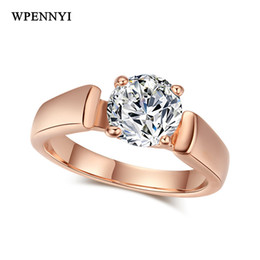 Brand Design Rose Gold Color Sparkling 7mm 1.25ct Zirconia Prong Studded Woman Fashion Simple Finger Ring Wholesale Accessories