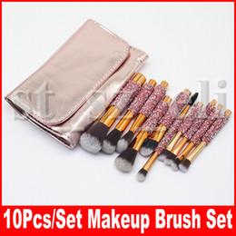 10 Pcs diamond Makeup Brush Set Professional Eye Make Up Brushes For Eyeshadow Concealer Eyeliner Brow Blending Brush Tool with PU bag