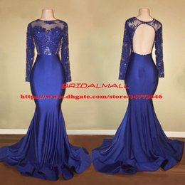 Beaded Applique Illusion Neck Blue Satin Mermaid Prom Dresses 2019 Sexy Keyhole Back Long Sleeves Formal Party Gowns Custom Evening Dress