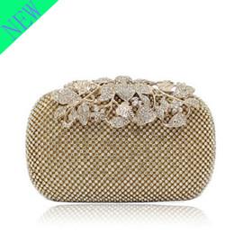 Crystal Lyne Leaf Clasp Net Diamond Evening Bag Encrusted Drilling Clutch Handbag Wedding Purse Bridal Messenger Bags - R3326