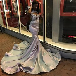 South African Mermaid Prom Dresses 2k19 Lace And Satin Silver Gray Evening Gowns Sweep Train Cocktail Party Dress Custom Made