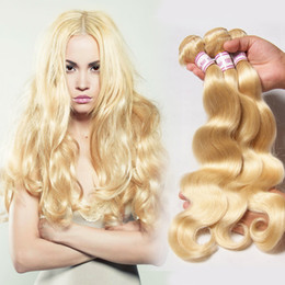 Irina bleach Blonde color #613 Brazilian Virgin Hair Body Wave Cheap 100% Unprocessed Remy Human Hair weave wavy 3pcs lot mixed lengths