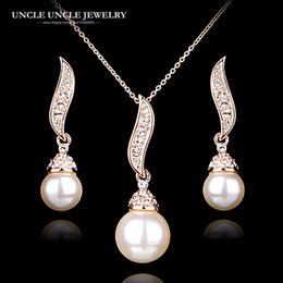 Elegant Rose Gold Color Round White Simulated Pearl Rhinestones Studded Wave Design Women Fashion Jewelry Set Necklace Earring