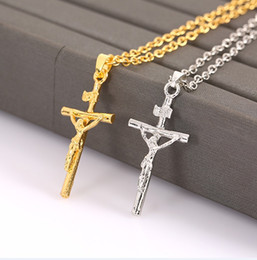 Fashion Crucifix Jesus Cross Pendant Necklace Trendy Platinum alloy INRI Cross Choker Jewelry For Women Men