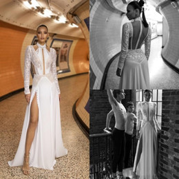 2020 Sexy Lior Charchy Lace Long Sleeve Wedding Dresses High Collar Side Splits Sexy Boho Wedding Dress Plus Size Bridal Gowns