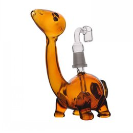 Colored Dinosaur Small Heady Glass Bongs Water Pipes Artistic Smoking Burner Mini Oil Rigs Glass Water Pipes With 14mm banger Joint
