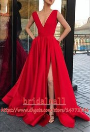Vestidos de fiesta 2019 V Neck Red Satin Long Prom Dresses With Pockets High Side Split Formal Party Gowns Cheap Evening Dress Celebrity