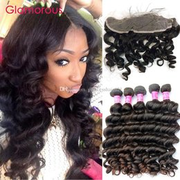 Glamorous Human Hair Weaves with Lace Frontal Closures Ear to Ear 13x4 Hair Frontals with 4 Bundles Peruvian Malaysian Natural Wave 5Pcs Lot