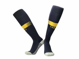 19 20 Boca Juniors soccer socks blue Knee High stocking adult Thicken Towel Bottom long hoses away white sport socks football stocking