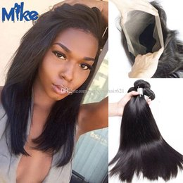 MikeHAIR Pre Pluck 360 Lace Frontal Closure with Straight Hair 4Pcs Lot Peruvian Indian Malaysian Brazilian Human Hair with 360 Lace Frontal