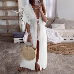 New Style White Maxi Cover-Up Kimono Cardigan Sexy V-Neck Beach Party Club Dresses Boho Caftan Dresses For Women ZZNF0223