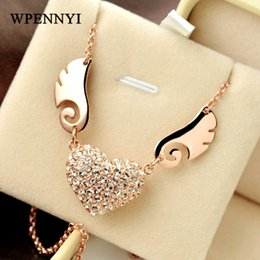 Rose Gold Color Clear Rhinestones Fully Paved Heart shape Angel's Love Design Woman Pendant Necklace Wholesale