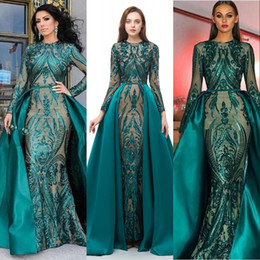 2019 New Dark Green Actual Image Prom Dresses Long Sleeves Sequined Lace Mermaid Detachable Train Sequins Plus Size Evening Party Gowns Wear