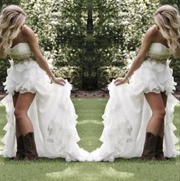 Modest High Low Country Style Wedding Dresses Sweetheart Ruffles Organza Asymmetrical Fitted Hi-lo White Summer Beach Bride Bridal Gowns