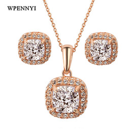Classic Sparkling Princess Cupid Cut Square Clear Zirconia Rose Gold Color Jewelry Set Necklace Earring Wholesale