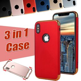 3 in 1 Plating Electroplating Hard Plastic PC Cover Frosted Armor Matte Case Anti-shock For iPhone XS Max XR X 8 7 6S Plus 5