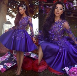 Arabic Sheer Long Sleeves Lace Cocktail Dresses Scoop Beaded Knee Length A Line Short Homecoming Party Gowns Prom Dresses Vestidos BC1227