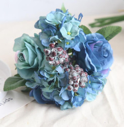 Blue artificial rose bouquet wedding creative decorations diameter about 21cm include rose, hydrangea and berries free shipping WT037