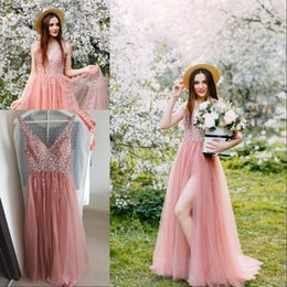 Pink Prom Dress 2020 Sexy V Neck Backless High Split Tulle Sleeveless Evening Dress A-line Lace Up Vestido De formatura Formal Party Gowns