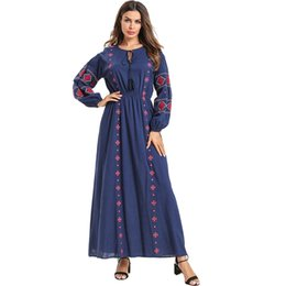 Spring Elegant Embroidery Long Dress Women Long Sleeves Navy Blue Pleated Maxi Dress Ladies Vintage Loose Party Dress
