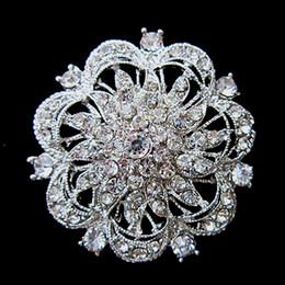 Silver Tone Large Rhinestone Crystal Round Flower Brooch