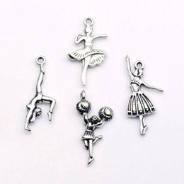 Hot Sale ! 100 pcs  lots Antique silver Zinc Alloy Mixed Dance girl Charms Pendants DIY Jewelry 4 Style