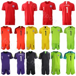 Chile Goalkeeper GK Goalie Soccer 1 Gabriel Arias Jersey Set 1 Claudio Bravo 12 Brayan Cortes Football Shirt Kits Uniform 2019 Copa America