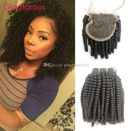 Glamorous Wholesale Human Hair Weaves with Closure Cambodian Mongolian Indian Brazilian Virgin Hair Kinky Curly 4 Bundles With Lace Closure