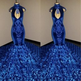 Elegant Royal Blue 3d Rose Flowers Prom Dresses 2019 Keyhole Neck Lace Appliqued Mermaid Velvet Evening Dress Pageant Party Gowns BC1128