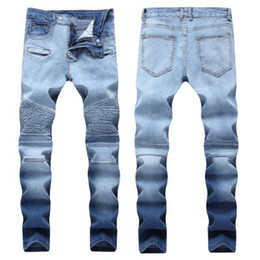 bf7f14eabd64c High Quality Slim Fit Ripped Jeans Men Mens Distressed Denim Joggers Knee  Holes Washed Destroyed Jeans Plus 28-40