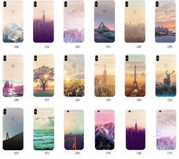 Colored Drawing Scenery Clear Soft TPU Gel Slim Mountain City Sunset Ocean Natural Landscape Cover Case for iPhone XS Max XR X 8 7 6 6S Plus