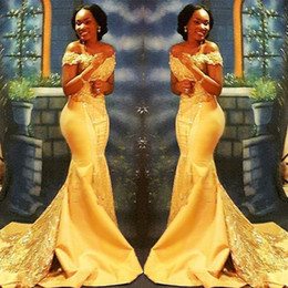 African Nigerian Yellow Mermaid Prom Dresses 2019 African Off Shoulders Lace Sequined Satin Evening Prom Gowns BA8405
