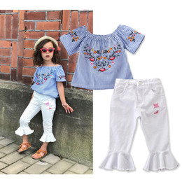 Ins 2019 New Baby Girls off shoulder tops Pants Suits Kids Korean Casual Stripe embroidered Tshirt+Flare Trousers Sportwear Children Outfits