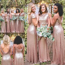 Sparkly Rose Gold Cheap Mermaid Bridesmaid Dresses 2019 Short Sleeves Backless Long Beach Sequins Maid of Honor Bridesmaid Gowns BM023