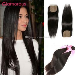 Glamorous Brazilian Straight Hair 2 Bundles With Closure Brazilian Human Hair With Silk Based Closure 100% Unprocessed Virgin Hair Weaves