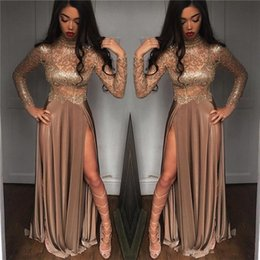 Sexy Gold Prom Dresses Sheer Long Sleeve High Neck Long Evening Dresses Side Split Party Wear Vestido