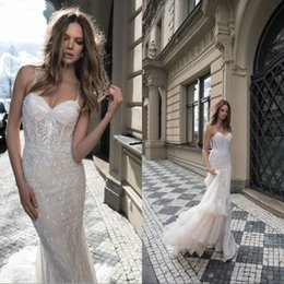Berta 2019 Sexy Spaghetti Bling Full Lace Mermaid Wedding Dresses Long Sequins Major Beading Backless Bridal Gowns Tiered Skirts BA0263